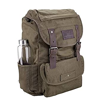 Waterproof Waxed Canvas Backpack for Men Travel Rucksack Leather Trimming  Green