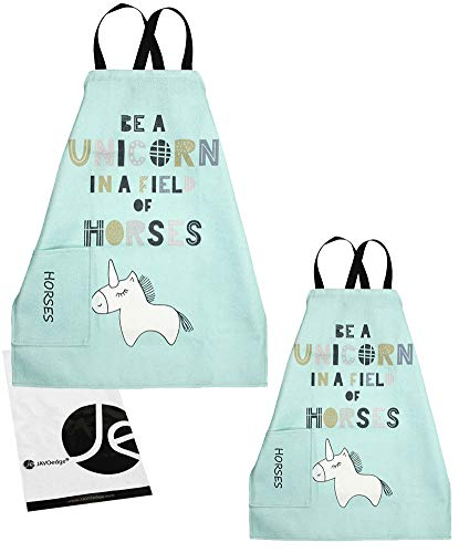 JAVOedge Unicorn Pattern Mommy and Me Apron with Pocket Cooking/Baking, Mother & Daughter [Child + Adults] Matching Set