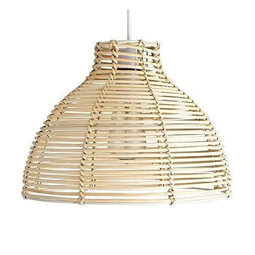 Wlgt Candelabro Ratán Bambú Mimbre Linterna Luces Colgantes Nórdico Moderno Iluminación Simple Lámpara Colgante Dormitorio Baño Cocina Sala de Estar Café Bar Restaurante Techo Lámpara Colgante E27