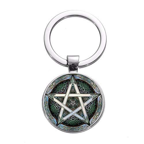 Supernatural Wicca Devil's Trap Pentagramm Schlüsselanhänger Magischer Stern Pagen Amulett Schlüsselanhänger Ring Damen Herren Vintage Schmuck
