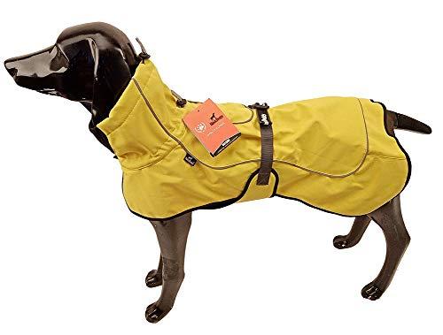 BLACKDOGGY Kleiner Welpe warme gemütliche Mäntel wasserdichte Sportweste Jacken, Premium-Outdoor-Sport, Winddicht warm für kaltes Wetter, Hundemantel mit Geschirr Loch gelb Größe XS