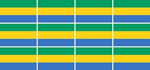 Mini Aufkleber Set - Pack glatt - 50x31mm - Sticker - Fahne - Gabun - Flagge-Banner-Standarte fürs Auto, Büro, zu Hause & die Schule - 12 Stück