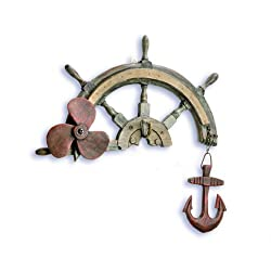 Ship's Wheel with Hook Decorative Wall Hanging