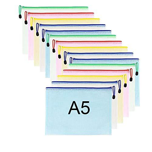 15 piezas Malla Bolsas Archivos de PVC Carpeta Documentos con cremallera A5 bolsa almacenamiento archivos para almacenamiento de recibos de viaje de asignación de tareas de oficina escolar (5 colores)