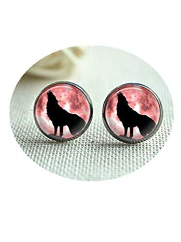 wolf oorbellen, wolf huilen bij volle maan post oorbellen, maan sieraden, glazen koepel oor sieraden