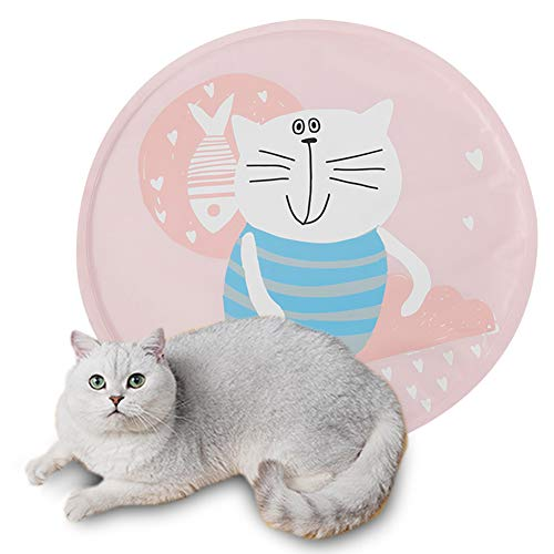 Tofern Pet Cooling Mat Summer Cat Gel Self Cooling Pad Waterproof Scratch Resistant Non Toxic Pressure Activated Ice Dog Mat for Kitten Puppy Kennel Bed, Pink kitten