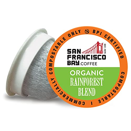 SF Bay Coffee OneCUP Organic Rainforest Blend 120 Ct Medium Roast Compostable Coffee Pods, K Cup Compatible including Keurig 2.0