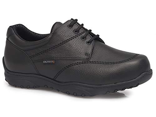 Zapato Hombre para DIABETICOS Marca CALZAMEDI, Horma Ancho 20, en Piel Color marrón, con Cordones, Doble Plantilla Extraible y Piso Cosido a Maquina de Poliuretano - 2143-71