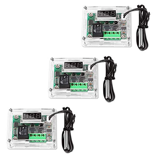 Aitrip 3pcs W1209 12V DC Digital Temperature Controller Board with 10A One-channel Relay and Waterproof Micro Digital Thermostat -50-110°C Electronic Temperature Temp Control Module Switch (With Case)