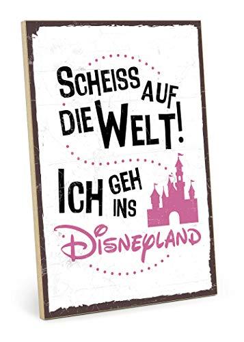 TypeStoff Holzschild mit Spruch – ICH GEH INS Disneyland – im Vintage-Look mit Zitat als Geschenk und Dekoration (Größe: 19,5 x 28,2 cm)