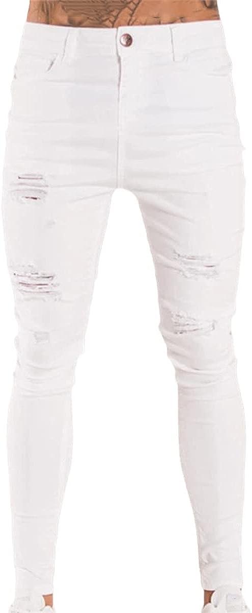 CACLSL Street Hip-hop Men's Super Skinny Ripped Stretch Jeans Trousers Slim fit Black White Dark Blue Light Blue Jeans