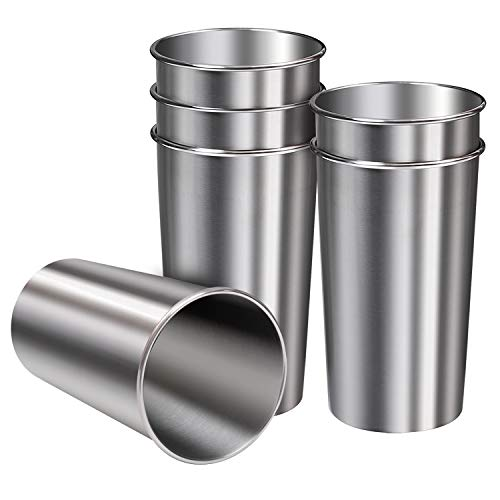 Ruisita 6 Pack 20 oz Stainless Steel Cups Metal Shatterproof Stackable Pint Drinking Cups for Adults...