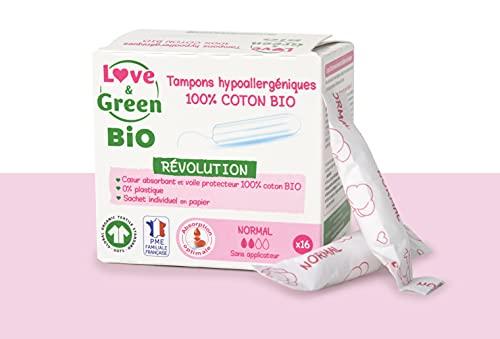 Love & Green Bio Tampons Hypoallergéniques Digitaux Normal x 16