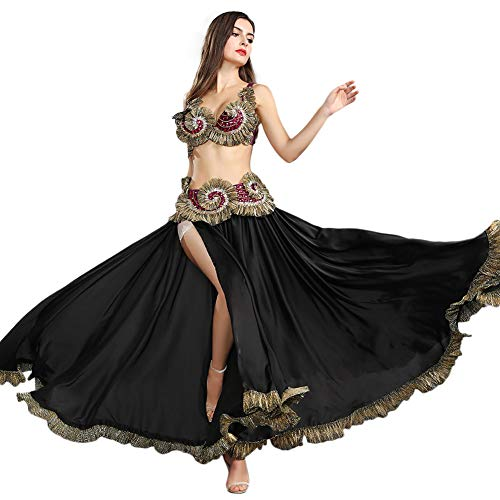 ROYAL SMEELA Bauchtanz Rock BH Gürtel Frauen Damen tanzen Kleidung Bauchtanz Kostüm Outfit Flamenco Langer Rock Strass BH Gürtel Anzug Tanzende Kostüme Schwarzer Maxirock Kleider
