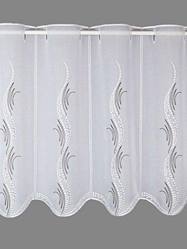 Modern bestickte Scheibengardine Luna – Panneau mit Echter Plauener Spitze 3 Höhen weiß-Taupe