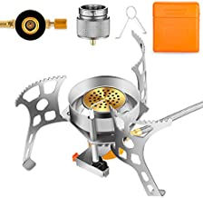 MaotaLife Camping Stove – 3500W Portable Stove – Backpacking Stove Kit with Piezo Ignition – Includes Fuel Canister Adapter and Carry Case – Windproof Design and Energy Efficient