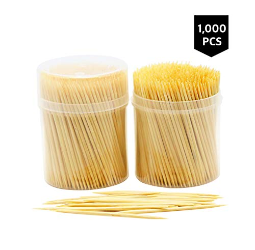 NEW NatureCore Bamboo Wooden Toothpicks - 1000 CT, Sturdy Safe Round Clear Non-Fragile Storage, 2 Packs of 500 PCS, Party Catering Appetizer Fruit Cocktail Dessert Barbecue Art Craft Teeth Cleaning
