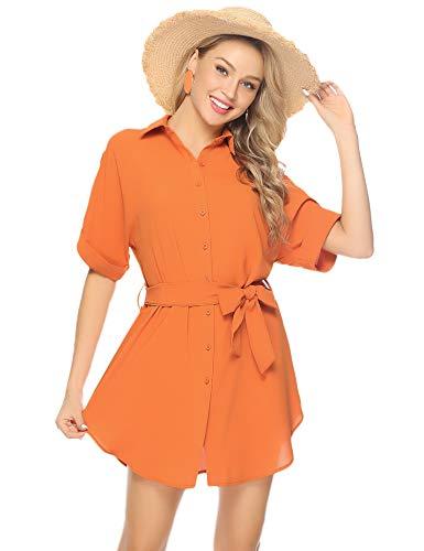 Abollria Damen Chiffon Hemdblusenkleid Fließende Longbluse Casual Leicht Sommerkleid mit Abnehmbar Bindeband,Orange,L