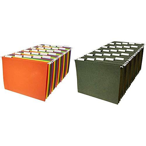 Amazon Basics Hanging File Folders - Letter Size, Assorted Colors, 25-Pack & Hanging File Folders - Letter Size, Green, 25-Pack