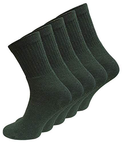 VCA 10 Paar Stabile Baumwoll Socken -Freizeit & Berufssocken- (43/46, dunkelgrün)