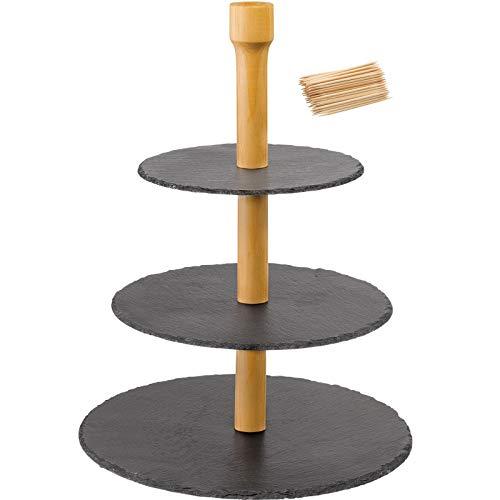 Westmark 3-stufige Naturschiefer-Etagère + 100 Mini-Fingerfood-Sticks, mit Kratzschutz, Maße: ø 28,5 x 40 cm, Schiefer/Kiefer, Tapas + Friends, Anthrazit/Hellbraun, 69682260