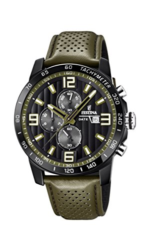 Festina Unisex Erwachsene Chronograph Quarz Uhr mit Leder Armband F20339/2