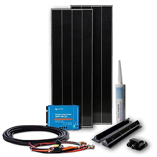 WATTSTUNDE BLACK LINE 320W Set mit Victron MPPT Laderegler - Wohnmobil Solaranlage im Komplettset mit 2x 160W Schindel Zellen Modul (320W)