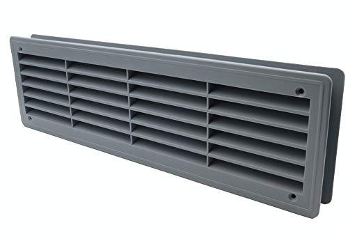 Rejilla de ventilación para puertas – Rejilla de ventilación – Cuarto de baño, gabinete, garaje a través de la cubierta de ventilación – Color: gris - 46 x 13.5 cm (44 x 12 cm)
