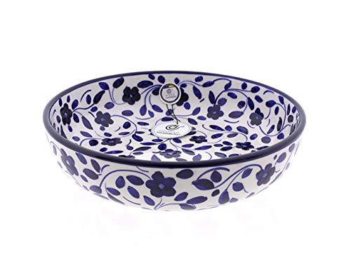 CERÁMICA RAMBLEÑA | Ensaladera cerámica | Ensaladeras Originales | Ensaladeras decoración Azul - Modelo 03 | 100% Decoración a Mano | 27x27x7 cm