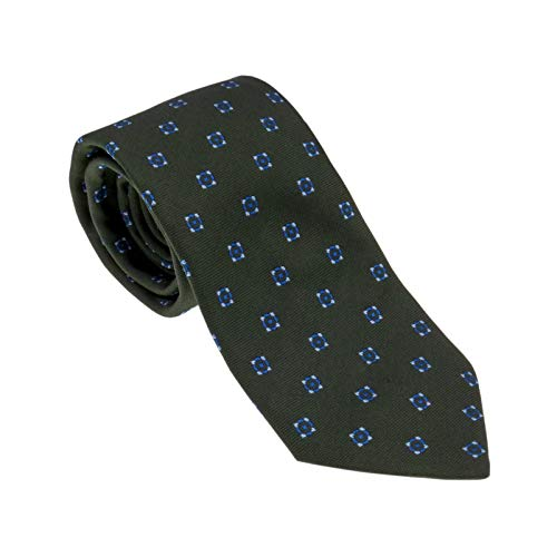 BSA Corbata 10 Neckwear 100% seda Made in Italy 8 cm Color Verde Oscuro Diseño Clásico Tejido Italiano