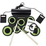 USB Electronic Drum Set,Roll-Up Drum Set Electronic Drum Kit 7 Drum Pads with Drumsticks Foot Pedals for Beginners Children Kids