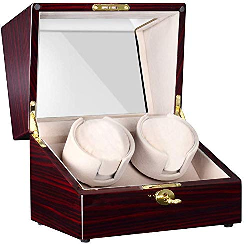 CHIYODA Double Automatic Watch Winder with 2 Independent Quiet Mabuchi Motor & 12 Rotation Modes & Touch LCD Digital Display