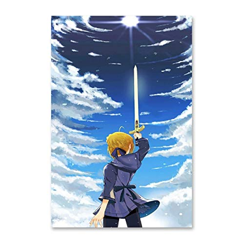 ZJYSM Fate Saber Altria Pendragon Anime (11) Decorative Painting Canvas Wall Art Living Room Posters Bedroom Painting 20x30inch(50x75cm)