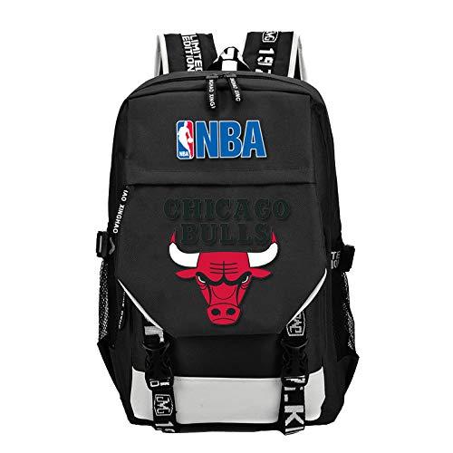 GFDSH Mochilas Escolares Juveniles PortáTil para NiñOs NiñAs Mochila del equipo de baloncesto de la NBA mochila mochila escolar para estudiantes Chicago Bulls