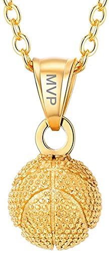 HUIQ® Collar Personalizado Baloncesto Colgante Collar Oro A