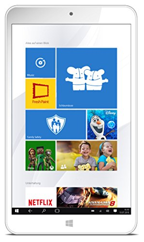 Odys Winkid 8 20,3 cm (8 Zoll) Tablet-PC (Intel Atom Quadcore Z3735G, 1GB RAM, 32GB flash HDD, Win 10) weiß inkl. Schutzhülle