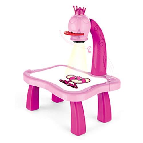 Pädagogischer Unterricht für Kinder, Multifunktions-Lerntisch, intelligente Projektionsmalmaschine, lustige Lernmaschine, Schulung für Kinder zum Zeichnen (Farbe zufällig)