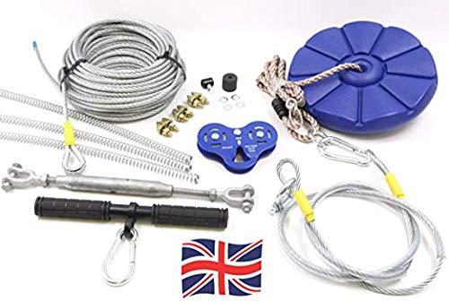 Heavy Duty Zip Line Kit mit Spring Bremse–50m (schwarz)