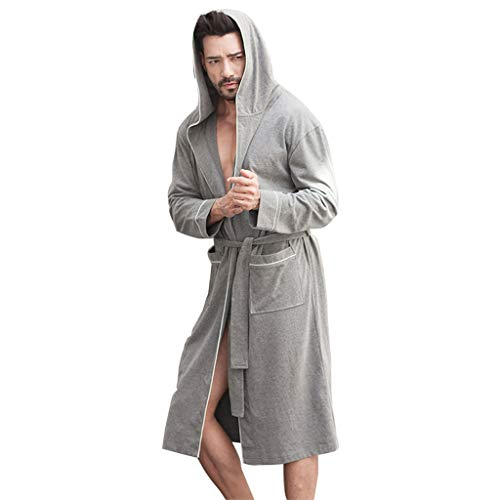 2 Tasche OFFA Accappatoio Uomo Morbido Accappatoio Long Kimono Accappatoi in Cotone Camicia da Notte Mens Robe da Notte Leggero Loungewear Veste Accappatoi con Cappuccio