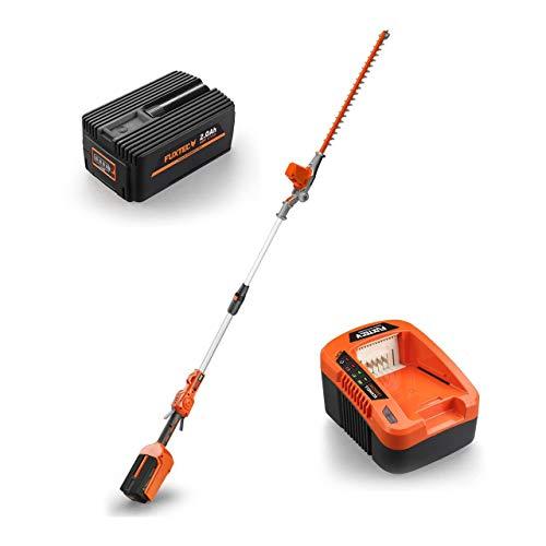 FUXTEC 40V Akku Hochentaster Hochheckenschere Set mit Samsung Lithium Akku Batterie 2Ah/EP20 + Ladestation EC20 -Besonderheit: Akku passend für alle FUXTEC 40V Geräte