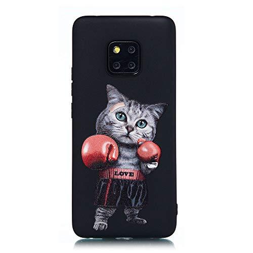 Capa para Huawei Mate 20 Pro, capa de proteção de TPU (poliuretano termoplástico) macia dobrável e à prova de choque para Huawei Mate 20 Pro, gato de boxe