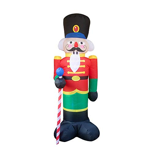 PoJu 8 Foot Christmas Inflatable Nutcracker Soldier Outdoor Decorations, Light Up Inflatable Santa Claus Soldier with 3 LED Lights Blow Up Decorations for Yard Lawn Garden Xmas Decor
