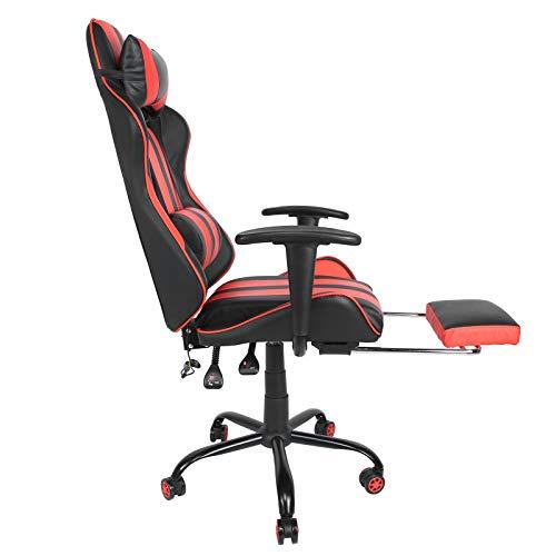 Aoutecen Verschleißfester ergonomischer Stuhl Spielstuhl Computerstuhl mit Lendenkissen Fußstütze Kopfstütze für Jugendliche Ehemänner und andere Spielbegeisterte(Reddish Black)