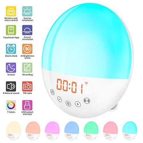 2020 WIFI Radio Reloj Despertador Digital Wake Up Light, Amanecer Simulación de Amanecer y Anochecer, 30 Niveles de Brillo, Función Snooze, 10 Sonidos, Control por voz, Admite Alexa Echo y Google Home