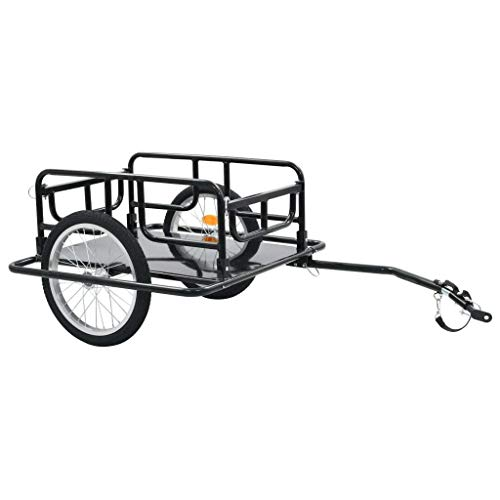 GOTOTOP Bike Cargo Trailer Heavy-Duty Steel Frame Foldable Drawbar Quick Release Wheels Bicycle Cart Wagon Trailer with Hitch,51.2