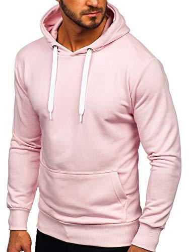 BOLF Herren Kapuzenpullover Sweatjacke Hoodie Sweatshirt mit Kapuze Reißverschluss Farbvarianten Kapuzenpulli Freizeit Training Gym Fitness Unisex 1004 Rosa(Hell) M [1A1]