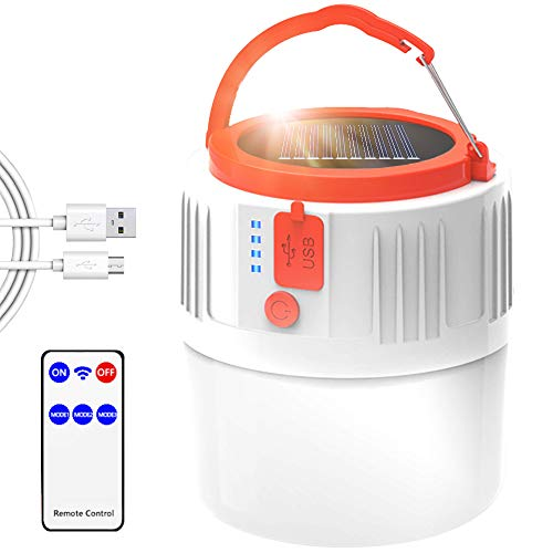 LETOUR Linterna de camping, luz LED recargable por energía solar/USB, luz portátil con mando a distancia, IP45 resistente al agua, 2200 mAh senderismo camping emergencia al aire libre