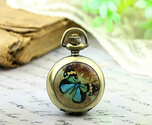Blaue Schmetterling-Taschenuhr, Schmetterlingskette, Schmetterling-Bild, Vintage-Bronze-Schmuck.