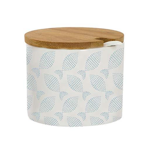 Deco Line MEDITERRANEO - Zuccheriera rotonda in ceramica con coperchio in bambù, 8 cm, colore: Bianco