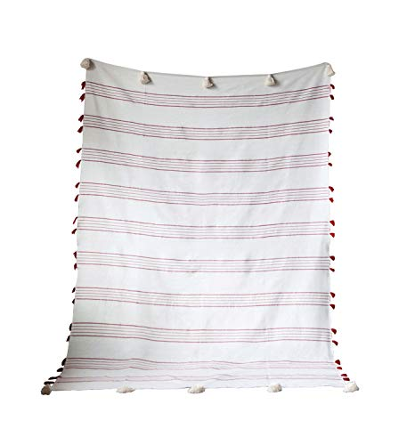 Best Review Of Creative Co-op Red & White Striped Hand-Loomed Cotton Tassels Bed Cover, 67 Inch x 98...